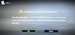 Vor dem ersten Gebrauch muss das USB-Laufwerk formatiert werden.