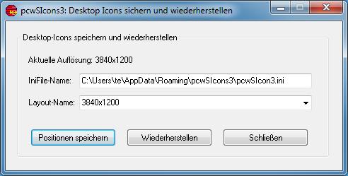 Desktop-Icons mit pcwSIcon3 sichern und wiederherstellen