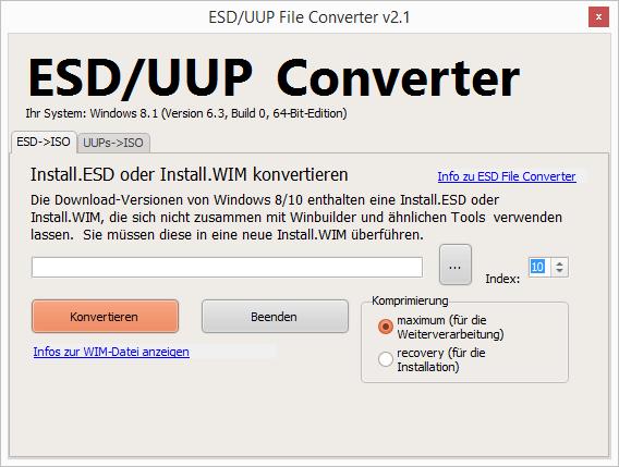 Windows 8/10: ESD-Datei in WIM-Datei umwandeln | Myria de