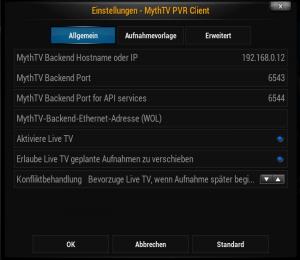 MythTV-PVR-Client konfigurieren