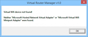 Virtual Router Device not found