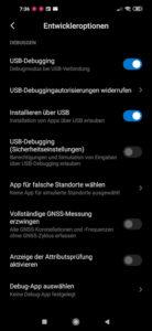 Entwickleroptionen in Android aktivieren